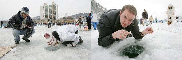 Для Фестиваля Санченё в этом году было пробурено 11 тысяч лунок для участников, которые были просто не в состоянии отвести глаза от пойманных рыбок (Фото любезно предоставлено Комитетом Фестиваля Санченё)