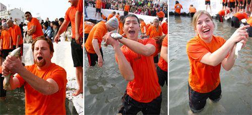 Участники Фестиваля Санченё с азартом прыгают в ледяную воду, чтобы голыми руками схватить рыбу (Фото любезно предоставлено Комитетом Фестиваля Санченё)